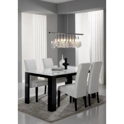 Table de salle à manger design laquée noire et blanche Dali
