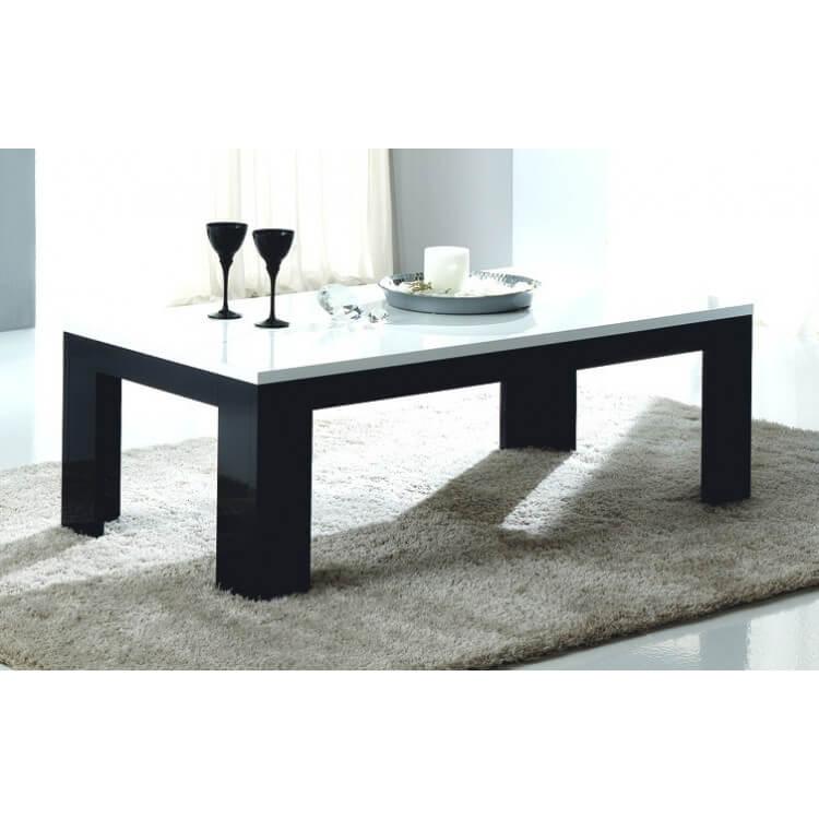 Table basse rectangulaire design laquée noire et blanche Dali
