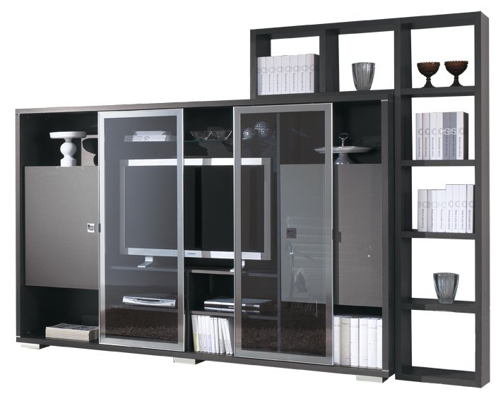Meuble TV & bibliothèque design chêne anthracite Streamy