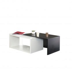 Table basse contemporaine coloris blanc/noir Pascaline