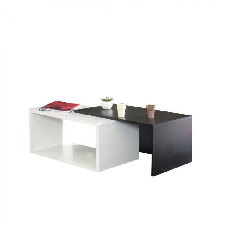 Table Basse Contemporaine Avec Plateau Coulissant Coloris Blanc Noir