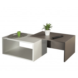 Table basse contemporaine coloris blanc/taupe Pascaline