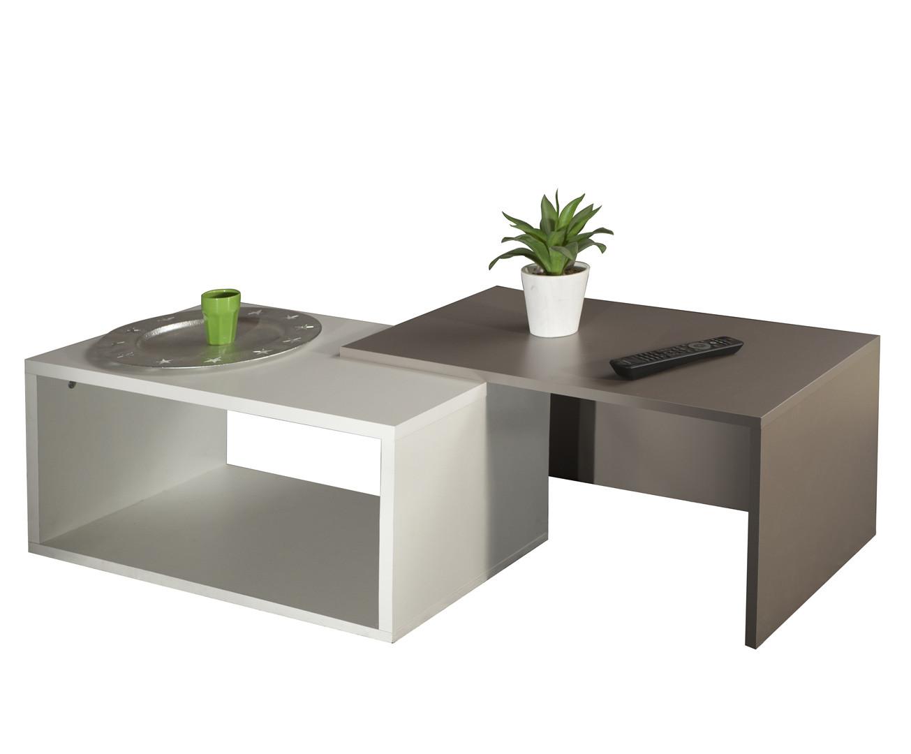 Table basse contemporaine coloris blanc/taupe Pascaline
