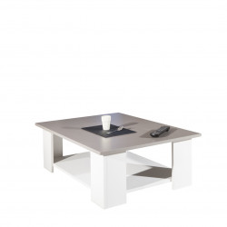 Table basse contemporaine blanc/taupe Fanette