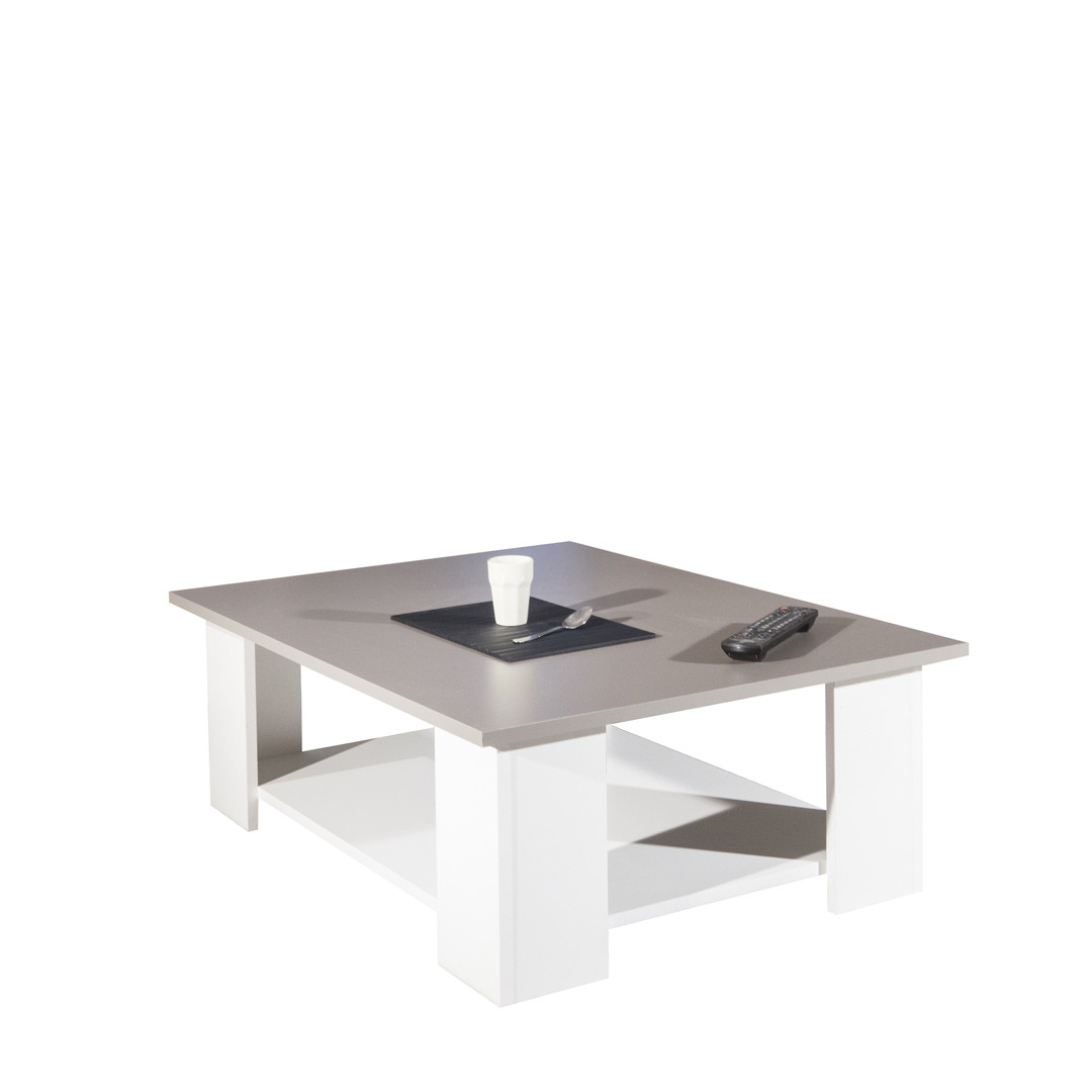 Table basse contemporaine blanc/taupe Fanette
