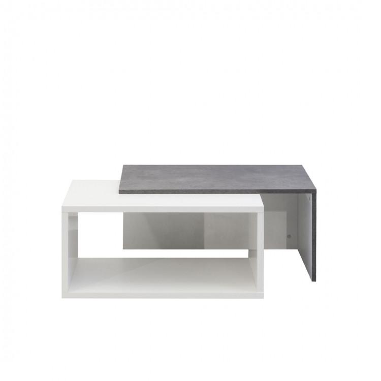 Table basse contemporaine coloris béton/blanc Pascaline
