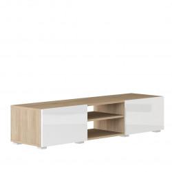 Meuble TV design chêne/laqué blanc Adelia