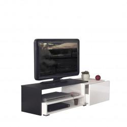 Meuble TV design noir laqué blanc Paco
