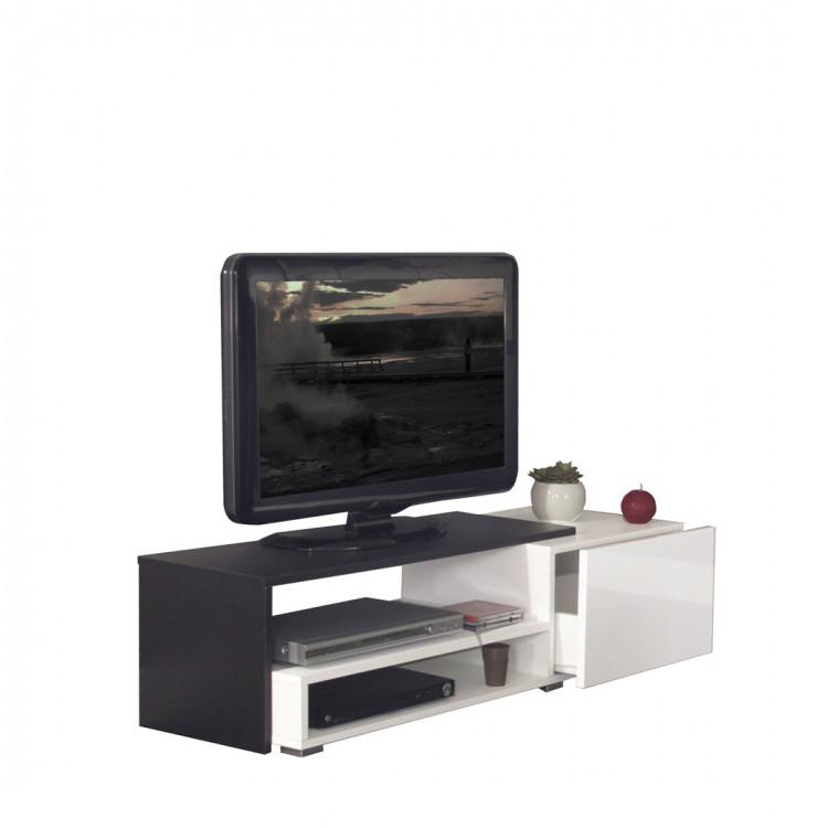 Meuble Tv Design Noir Laque Blanc Paco