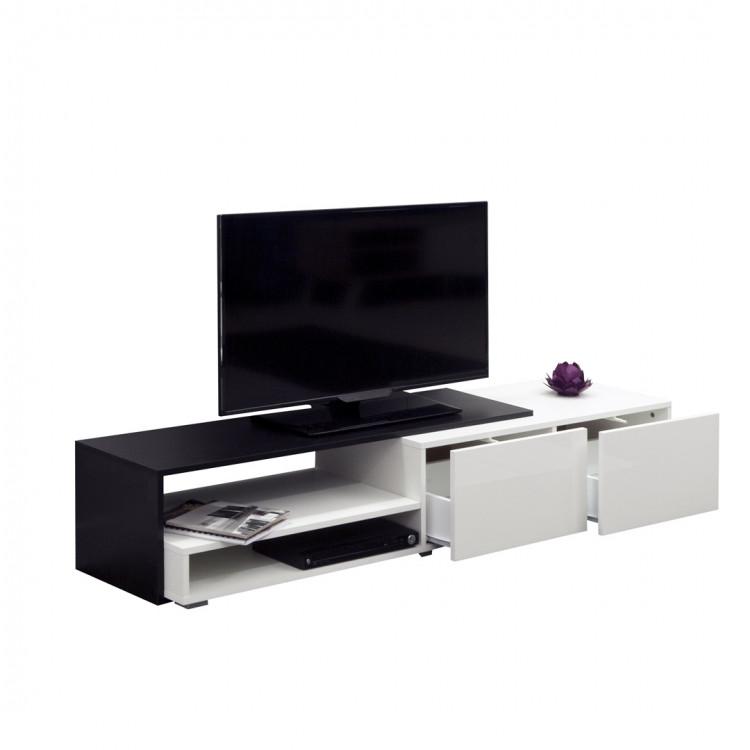 Meuble Tv Design Noir Laque Blanc Declic