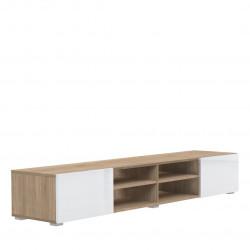 Meuble TV design chêne/laqué blanc Adélia II