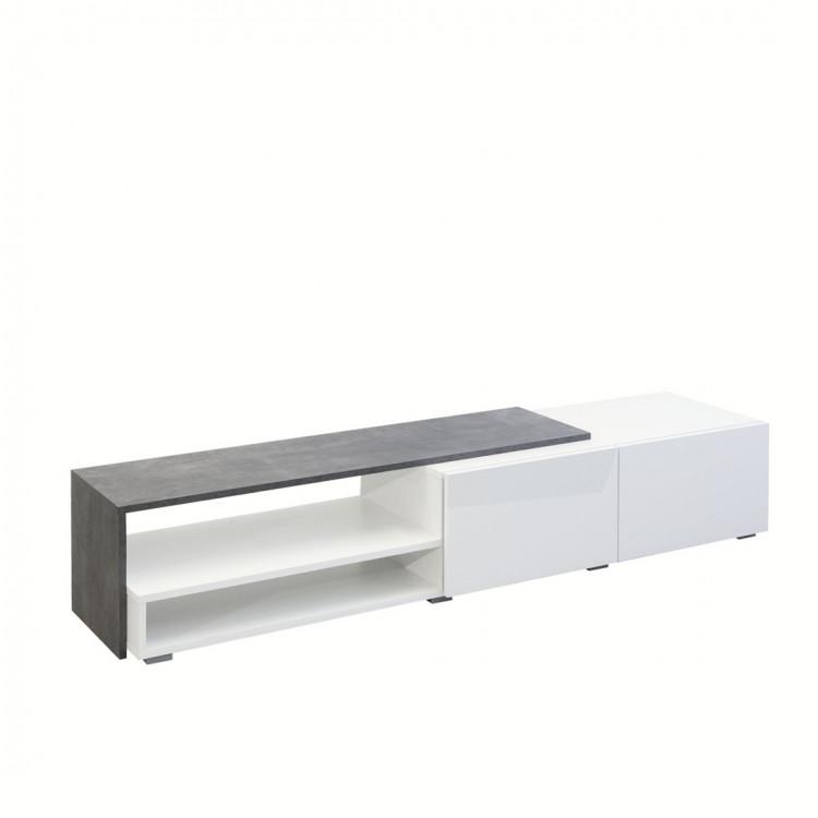 Meuble Tv Design Gris Blanc Blanc Laque Declic