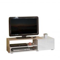 Meuble TV design chêne/blanc/blanc laqué Paco