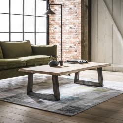 Table de salon vintage rectangulaire en bois massif Thomas