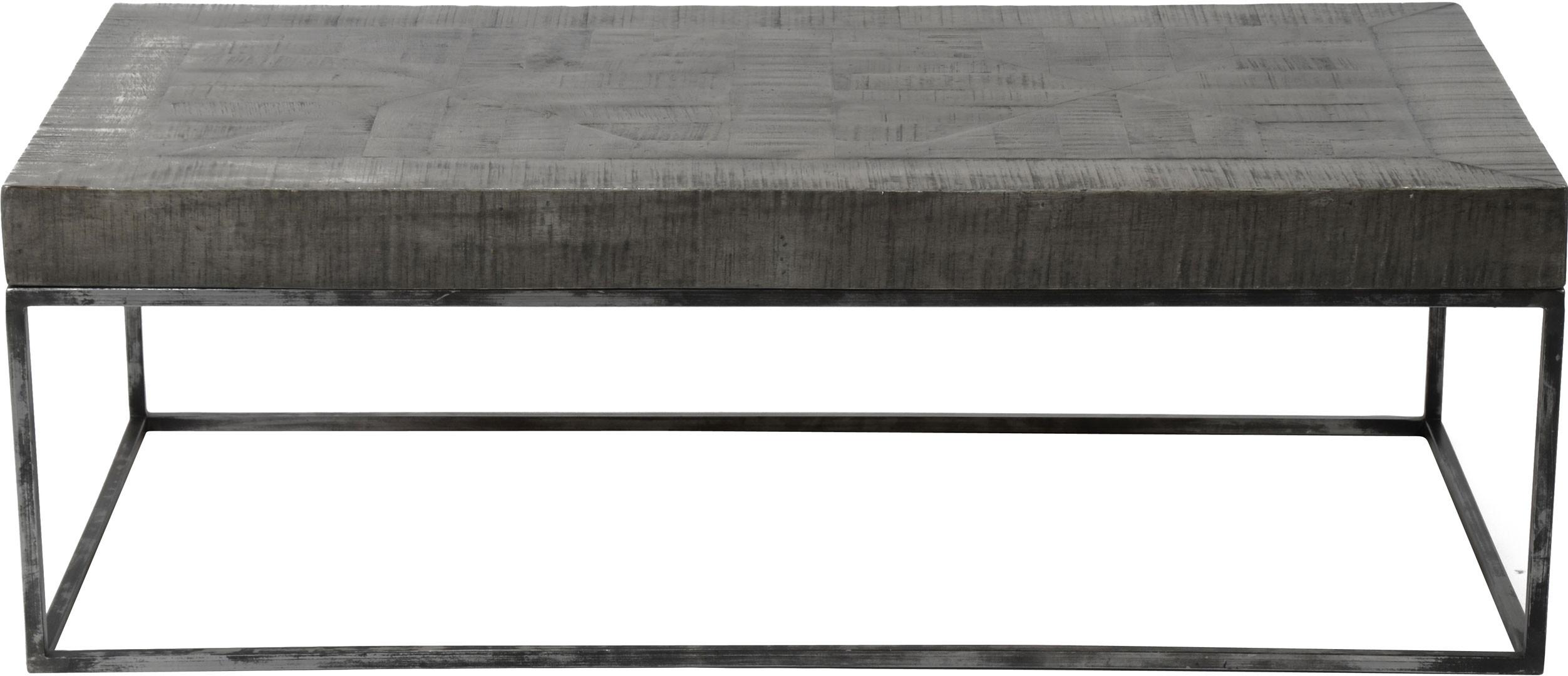 Table basse rectangulaire design en bois massif coloris gris antique Florent