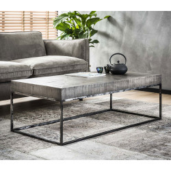 Table basse rectangulaire design en bois massif coloris gris antique Florent