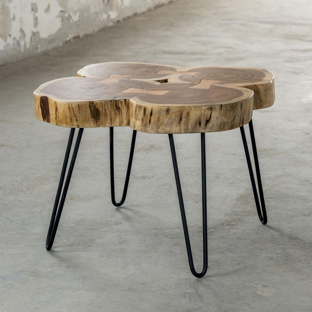 Table basse contemporaine en bois massif d'acacia Antoine