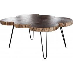 Table basse contemporaine à 6 troncs en bois massif d'acacia Antoine