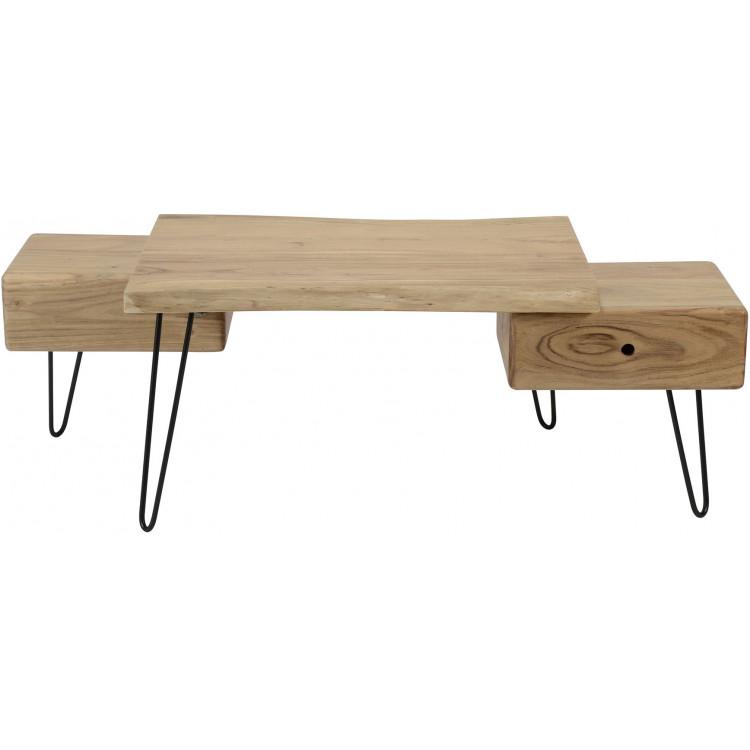 Table basse design à 2 tiroirs en bois massif d'acacia Amandine