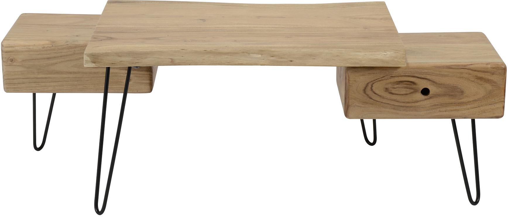 Table basse scandinave à 2 tiroirs en bois massif d'acacia Amandine