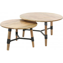 Ensemble de 2 tables basses vintage en bois massif d'acacia Ulrich