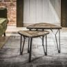 Ensemble de 2 tables basses vintage en bois massif et métal noir Olivier