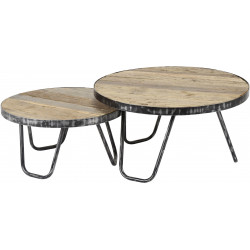 Ensemble de 2 tables basses rondes vintage en bois massif Charlotte