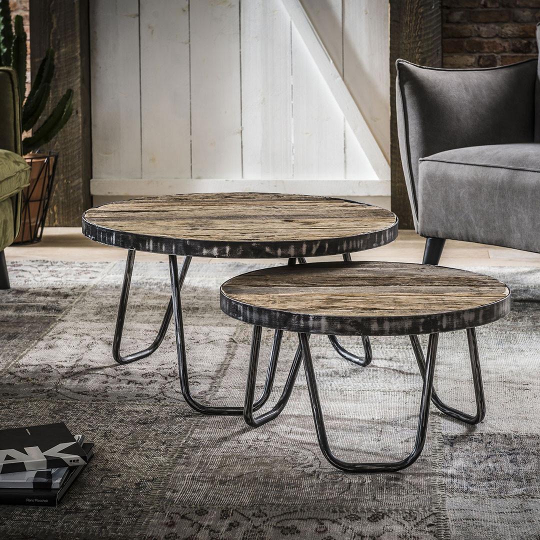 Ensemble de 2 tables basses rondes vintage en bois massif Charlotte