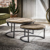 Ensemble de 2 tables basses rondes vintage en bois massif à piétement en acier Marina