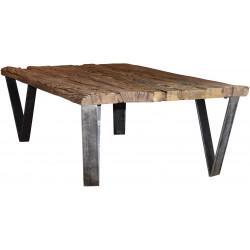 Table basse rectangulaire industrielle en bois massif avec piétement en acier Marie