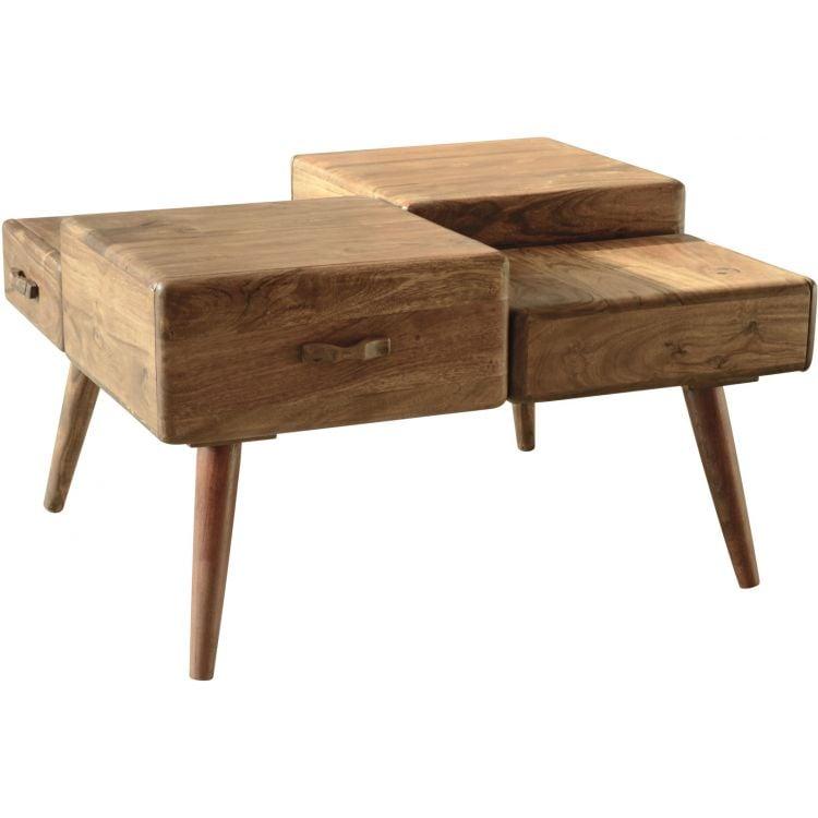 meilleur pas cher 94927 47491 Table basse scandinave à 4 tiroirs en bois massif d'acacia Amandine