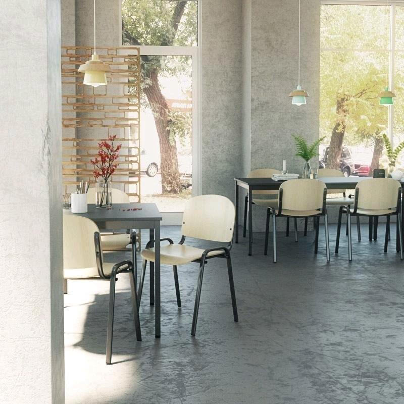 Table de réunion métal et bois coloris graphite profondeur 70 cm Aurore