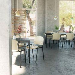 Table de réunion métal et bois coloris graphite profondeur 80 cm Aurore