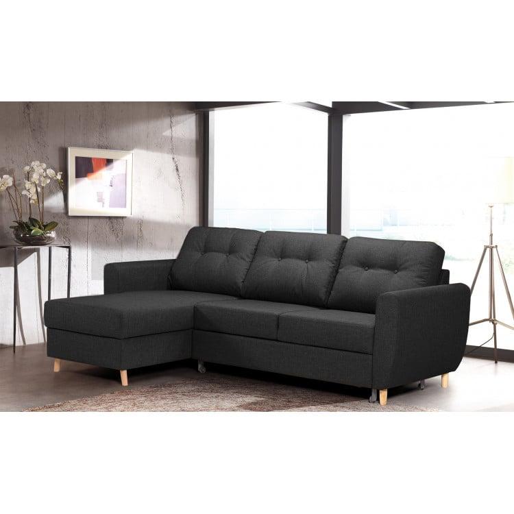 Canapé d'angle convertible contemporain en tissu Derek