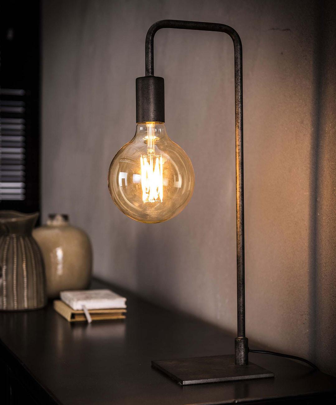 Lampe de table vintage en métal gris ancien Laura