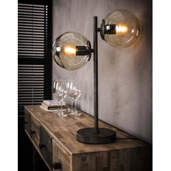 Lampe de table vintage 2 sphères en métal noir et verre Noemie