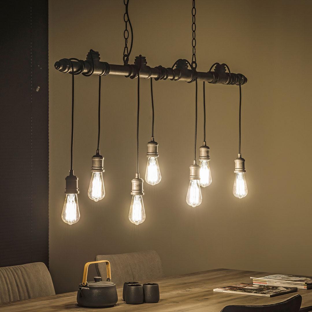 Suspension industrielle en métal gris ancien 7 ampoules Heloïse