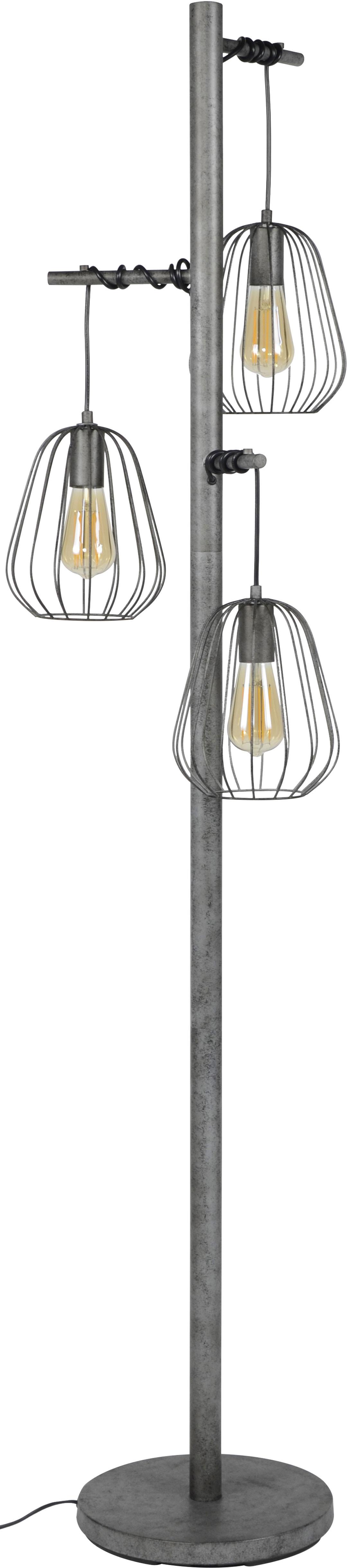 Lampadaire vintage en métal gris ancien 3 lampes Stella