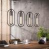 Lustre vintage en métal gris 4 lampes ovales Lucie