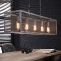 Lustre rectangulaire vintage en métal gris 5 lampes Manon