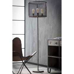 Lampadaire industriel en métal gris 3 lampes Manon