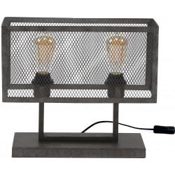 Lampe de table vintage rectangulaire en métal gris 2 lampes Manon