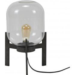 Lampe de table en verre sur support en métal gris Eloïse
