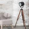 Lampadaire vintage en métal et bois Mila