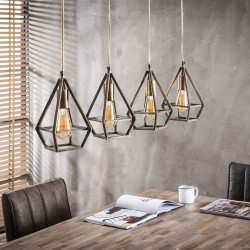 Lustre vintage en métal cuivré 4 lampes Victoria