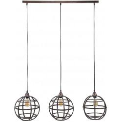 Lustre vintage en métal cuivré 3 lampes Ø 33 cm Julia