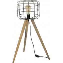 Lampadaire vintage sur trépied en bois Roxane