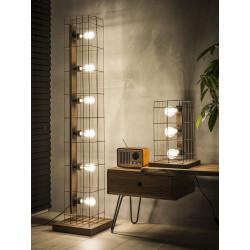 Lampe de table vintage en métal couleur rouille 3 lampes Elena