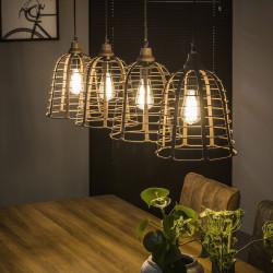 Suspension vintage en métal couleur rouille 4 lampes Daphne