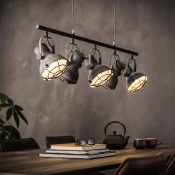 Suspension industrielle en métal gris 5 lampes Ø 16 cm Oceane